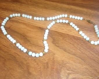 vintage necklace blue swirl glass goldtone