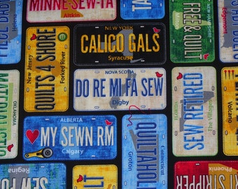 License Plates, Quilters License Plates Fabric, Quilters Fabric, Quilters Phrases, Timeless Treasures, By the Yard