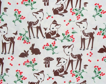 Fawn Memories, Michael Miller, Christmas Fabric, Vintage Style, Retro Style, On Cream, By the Yard