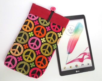 Groovy Peace Sign Tablet Sleeve with Red Corduroy Lining, fits iPad Mini, 7 inch Kindle, Nook Color more