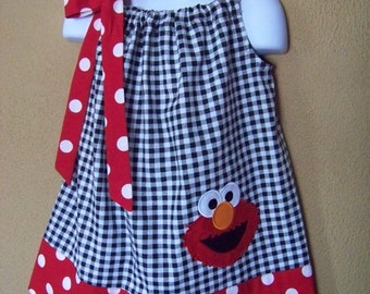 Elmo Dress, Sesame Street Dress, ElmoPillowcase Dress, Black and White Checks, Red and White Polka Dot, Size 6 mo to 14