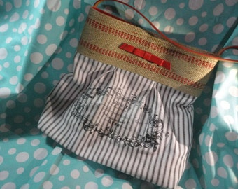 handbag, purse, market bag , printed design with Red striped Natural Jute Webbing and red belt accents and handle