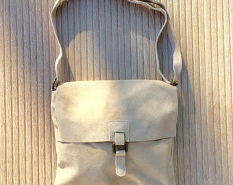 BOHO  suede leather bag in  BEIGE. Soft patent natural leather bag