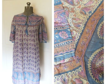 Vintage 70s Indian Cotton Gauze Dress Purple and Blue Paisley Sheer Block Print Boho Hippie Festival Maternity Womens Small Medium Large
