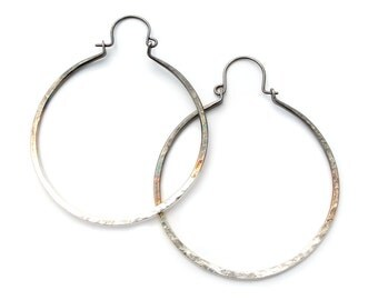 "Hammered hoops 2"" sterling silver, ombre, blackened sterling, yellow or rose gold filled"