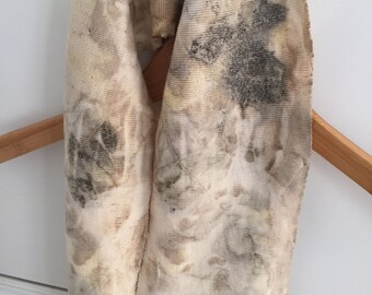 Botanical Hand-dyed Cotton Jersey Infinity Scarf with natural plants for Autumn #3
