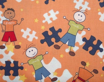 Riley Blake Pieces of hope 2 Autism awareness fabric - one yard -orange