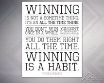 Vince Lombardi - Winning is a Habit - Football Quote Print - Inspiration for Fan Cave - 5x7, 8x10, 11x14, 16x20, 20x24, 24x30