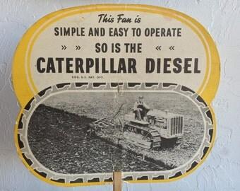 Caterpillar Tractor Co Advertising Hand Fan 1930's