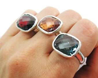 Light Blue ring. Cz sterling silver ring. Sterling silver ring. Silver ring. Red silver red. Yellow silver ring. Statement ring (sr-9760)