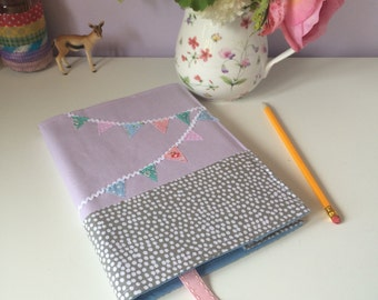A5 notebook cover bunting lilac grey