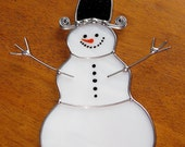 Christmas Holiday Stained Glass Suncatcher - Winter Icy Cold Snowman