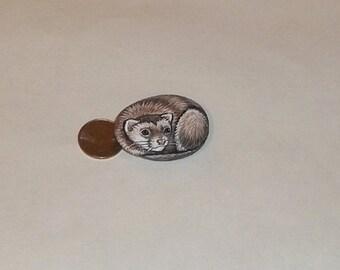 OOAK Original Hand Painted ferret folk art stone rock pet