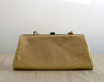 Vintage 80s Gold Evening Clutch