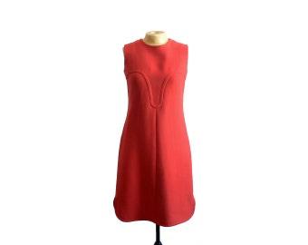 Vintage 1960s Pierre Cardin Red Wool Shift Dress