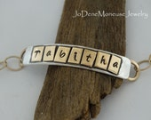 Personalized gold and silver mixed metal name,word bracelet,mixed metal, hand stamped, personalized i.d. bracelet,artisan metalsmith jewelry