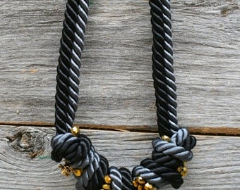 Asymmetric black and gray knotted necklace