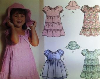 TIERED DRESS & HAT Pattern • Simplicity 5695 • Girls 2-4 • Ruffled Peasant Dress • Prairie Dress • Children's Patterns • WhiletheCatNaps
