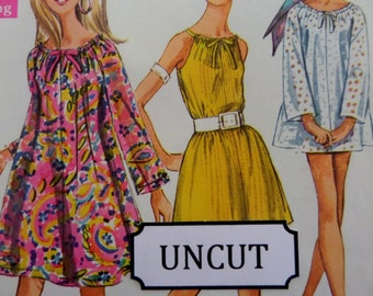 "1968 Drawstring Neck Dress or Sleeveless Top Pattern Simplicity 7689 Miss M 12-14 Bust 34-36"". BOHO MINI-DRESS Pattern at WhiletheCatNaps"