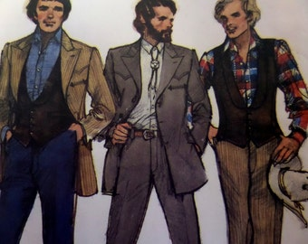 """1970's Western Flair Jacket ~ Vest & Pants Pattern Butterick 6750 Men's 40"""" Chest. ROBERT STOCK Jacket and Vest Pattern at WhiletheCatNaps"""