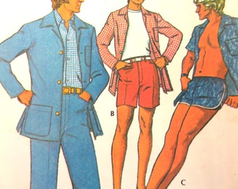 SWIM TRUNKS Pattern • McCalls 3581 • Mens 40 • Patio Jacket • High Waist Pants • Walking Shorts • Swimwear • Mens Patterns • WhiletheCatNaps