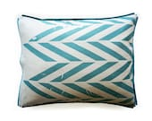 SALE 50% Printed linen cotton pillowcase Aqua ZIGZAG King size pillowcases Queen pillow case Euro sham