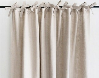 Natural linen curtains Custom color drapes Unlined, blackout curtain panel or privacy lining lined window treatments