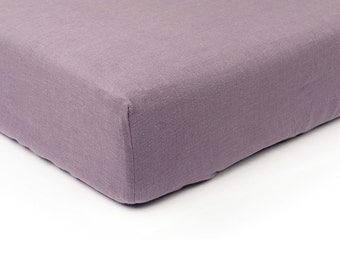 Light purple linen fitted sheet, Queen bed sheets, King sheets, Double Full or Twin size fitted sheets, Purple linen bedding