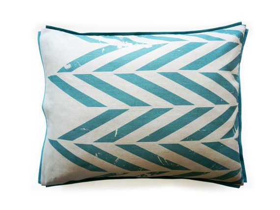 Printed linen cotton pillowcase Aqua ZIGZAG King size pillowcases Queen pillow case Euro sham