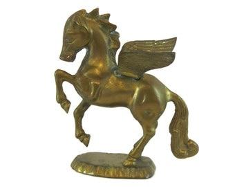 Vintage Solid Brass Pegasus Statuette (E6549)
