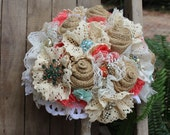 Custom order for Rene - Turquoise and Coral Brooch Bouquet / burlap and lace wedding bouquet  / aqua / coral / brooches vintage rustic glam