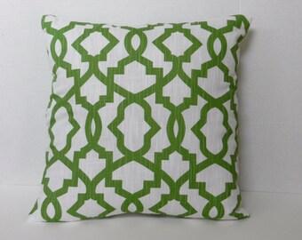 Lime Green White Trellis Throw Pillow Cover, linen look slub home dec fabric, 18 x 18 inch with zipper closure