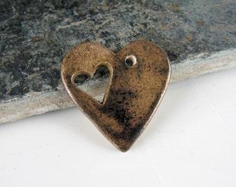 Bronze Heart Hole Ceramic Heart Pendant