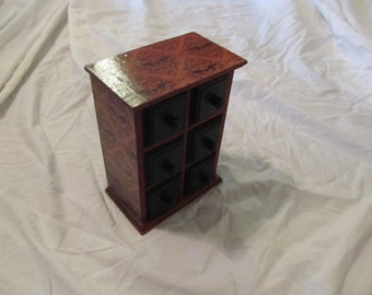 Victorian Bats Burgundy & Black Gothic Jewelry Organizer Tabletop Chest of Drawers