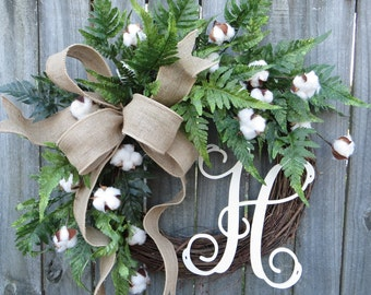 Cotton Wreath - Cotton Burlap Wreath - Cotton Decor - Spring Wreath - Year round Wreath -Welcome Wreath -Front Door Wreath -Wedding Wreath