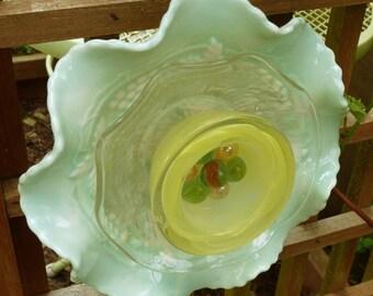 Garden sculpture, glass flower, garden art, yard art, yard sculpture, garden decor, green and yellow flower