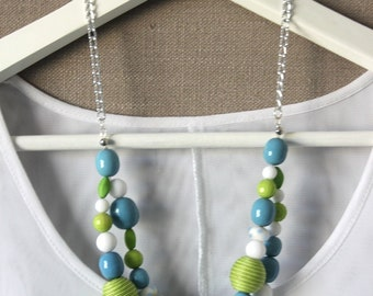 Lime, blue and white necklace