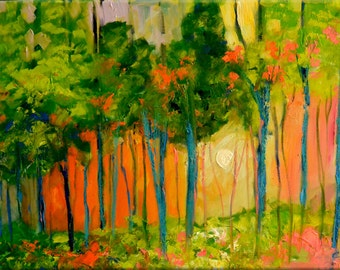 """Original OIL  Painting Large  Abstract Landscape Painting  24"""" x 36""""  """"Forest Bright """" Canvas by Claire McElveen"""
