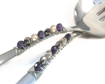Wire Wrapped Salad Serving Set, Salad Utensils, Kitchen Utensil, beaded serving utensil, fork and spoon set, purple, gold, taupe