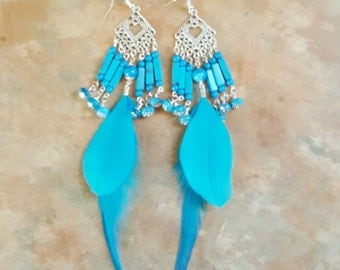 Beautiful Sky Blue Feather and Howlite and Crazy Lace Agate Dangle Earrings
