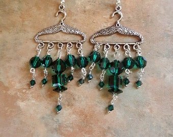 Adorable Green Swarovski Crystal Clothes Hanger Earrings