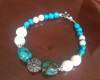 Turquoise and Freshwater Pearl Sterling Silver Bracelet