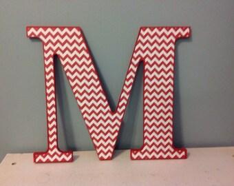 "Red chevron wooden ""M"" wall letter/custom chevron wall letter/wall decor"