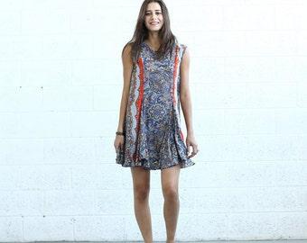Summer Sale SALE!Flare Midi dress, Orange Paisley