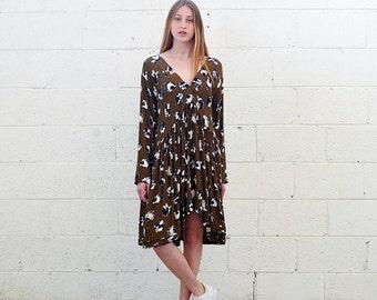 Summer SALE V Neck Midi dress, Floral