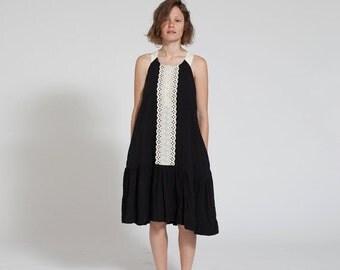 Final Summer Sale SALE 30% Lace Peplum Hem Black Dress, Black Tank Dress