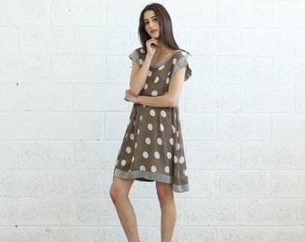 Valentines day Summer Sale Sheer Polka Dot dress, Gray