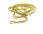 Antique 14K Gold Necklace. Victorian Long Rope Chain. Diamond Chip Slide. 18K Swivel Hook. 1800s Antique Solid Gold Jewelry.