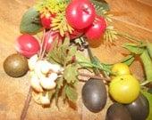 Lot of vintage plastic fruit and nuts on picks