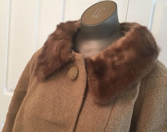 1940s boiled wool mink collar coat lined in silk XL